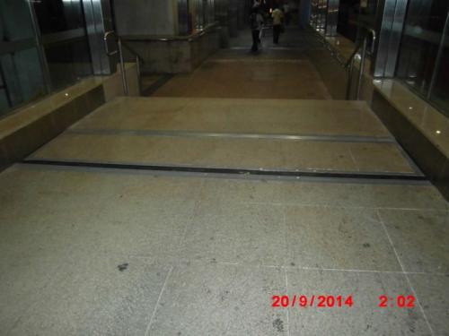 Tiled pedestrian floodgate.