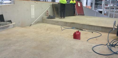 Ground preparation for installation of automatic FloodBreak barrier.