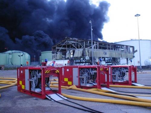 3 Hytrans pumps at Buncefield Oil Depot fire in UK in December 2005.