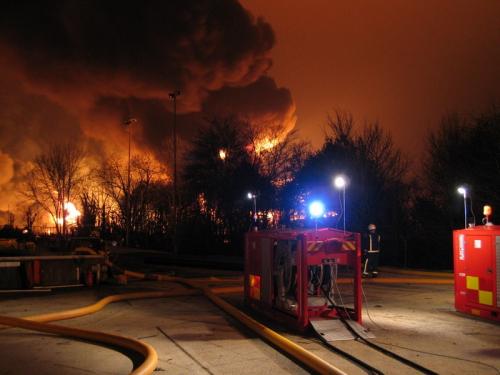 Hytrans units extinguishing Buncefield fire 2005.