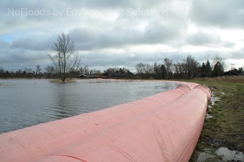 Flood barrier deployment.