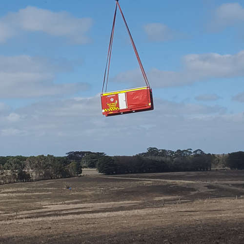 FRNSW Hytrans unit being airlifted to the Victorian peat fires