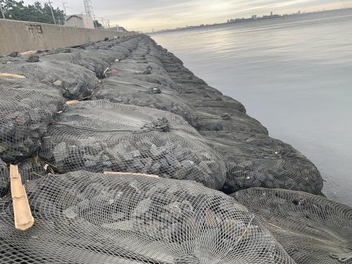 Rock bags on shoreline