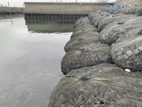 Rock bags protect shoreline