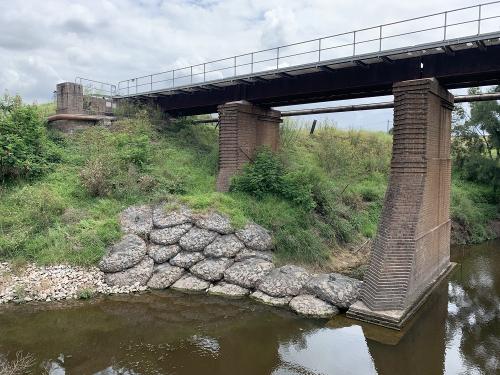 rockbags protect a bridge in NSW