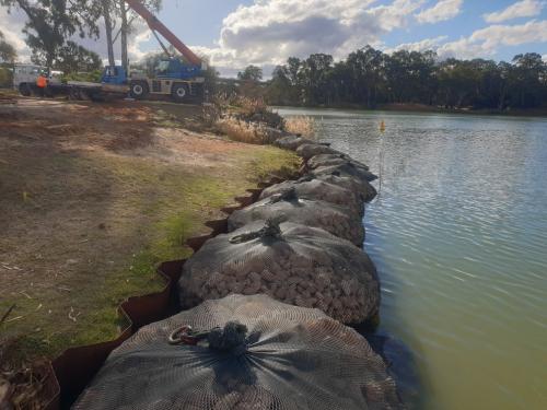 Murray River, Mildura. Rock bags use as a water erosion prevention method