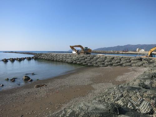 Rockbags used for coastal groyne to prevent beach erosion